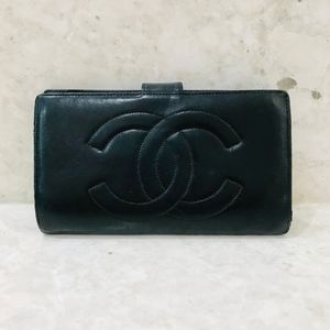 CHANEL CC Compact French Purse Wallet Navy